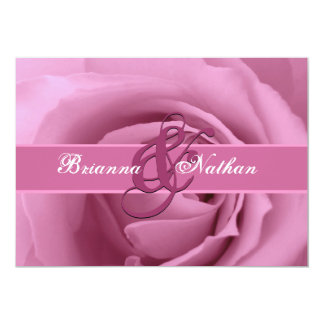 Cotton Candy Pink Rose and Ribbon Wedding Card