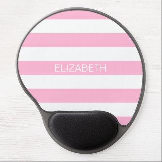 Cotton Candy Pink White Horiz Stripe Name Monogram Gel Mouse Pad
