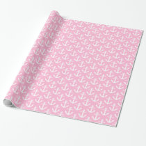 Cotton Candy Pink White Nautical Anchors Pattern Wrapping Paper