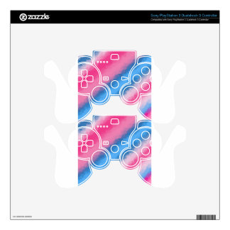 Cotton Candy Rainbow Colors PS3 Controller Skin