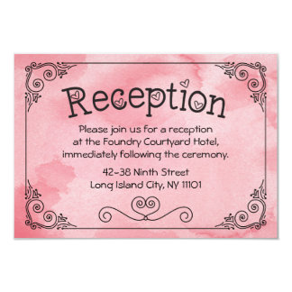 Cotton Candy Reception Pink Watercolor Heart Card