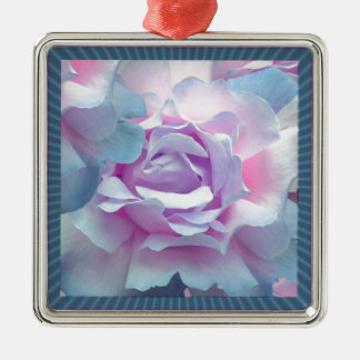 Cotton candy rose metal ornament