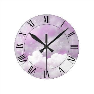 Cotton candy skies round clock