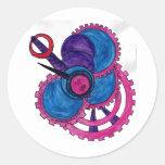 Cotton Candy Steampunk Clock Classic Round Sticker