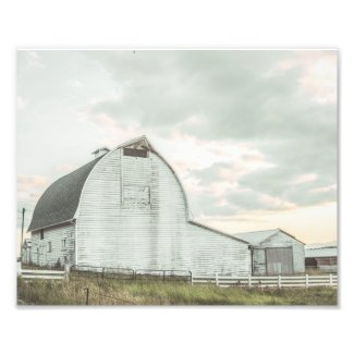 Cotton Candy Sunset Rural Whitewashed Barn Photo Print