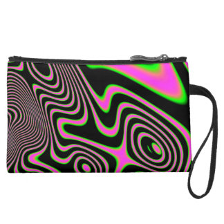 Cotton candy Trippy Abstract Suede Wristlet Wallet