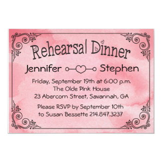 Cotton Candy Wedding Rehearsal Pink Watecolor Card