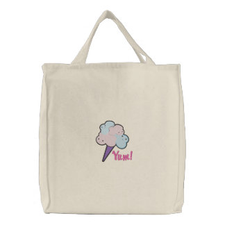 cotton candy, Yum! embroidered tote bag