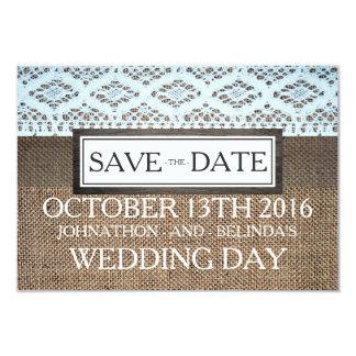 Cotton Crochet Lace & Rustic Burlap Save The Date Card