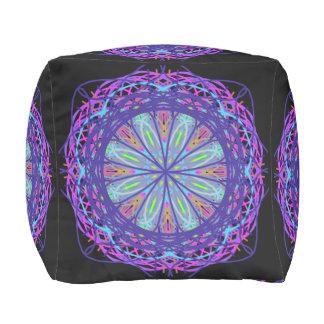 Cotton Cubed Pouf, Kaleidoscope Purple Black Cube Pouf