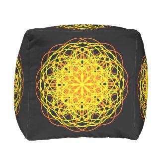 Cotton Cubed Pouf, Kaleidoscope Yellow Black Cube Pouf