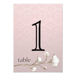 Cotton Damask 2nd Anniversary Table Number 5x7 Paper Invitation Card