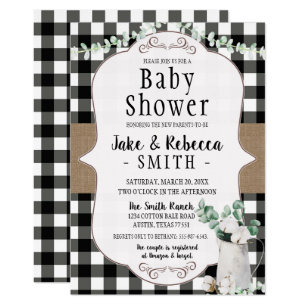 Cotton Farmhouse Black White Neutral Baby Shower Invitation