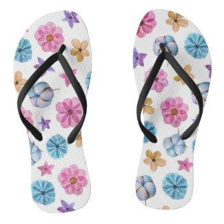 Cotton & Flowers Flip Flops