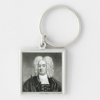 Cotton Mather Silver-Colored Square Keychain