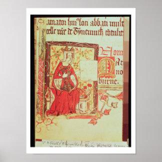 Cotton Nero D VIII fol.7 Queen Matilda holding a c Poster
