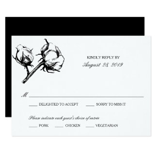 Cotton Plant Etching | Wedding RSVP Card