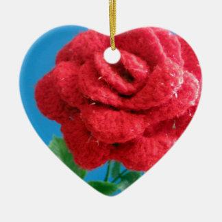 Cotton Red Rose Ceramic Ornament
