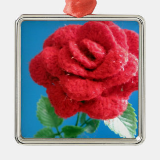 Cotton Red Rose Metal Ornament