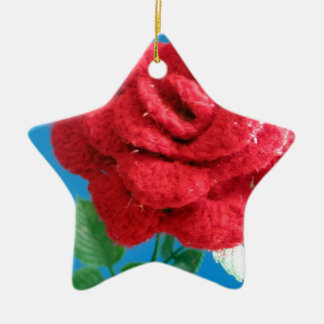Cotton Red Rose Christmas Tree Ornament