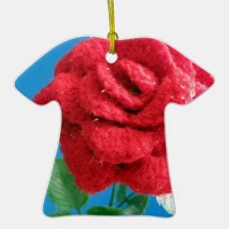 Cotton Red Rose Ornaments