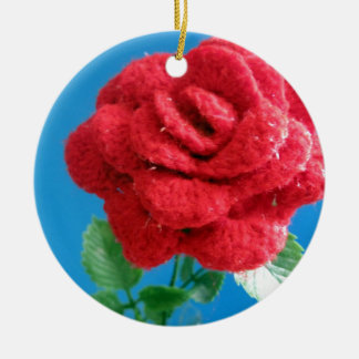 Cotton Red Rose Ornament
