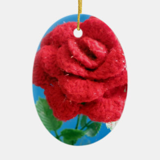 Cotton Red Rose Christmas Ornament