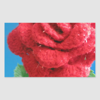 Cotton Red Rose Rectangular Sticker