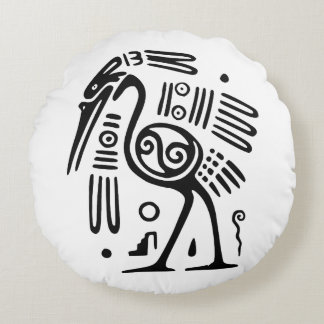 Cotton Round Throw Pillow With Mayan Bird Design