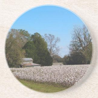Cotton Series--Barn behind cotton field Coaster
