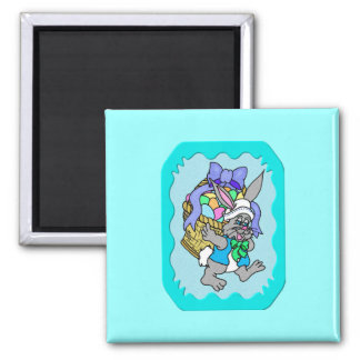 Cotton-tail Easter 5 2 Inch Square Magnet