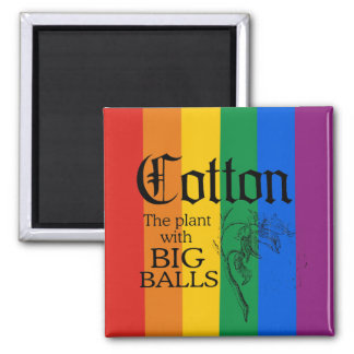 COTTON: THE PLANT WITH BIG BALLS 2 INCH SQUARE MAGNET