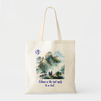 Cotton Tote with Monogram, Vintage Image and Quote Budget Tote Bag