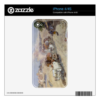 Cotton Transport, India, 1862 (w/c over pencil hei iPhone 4 Decal