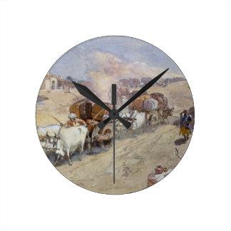 Cotton Transport, India, 1862 (w/c over pencil hei Round Clock