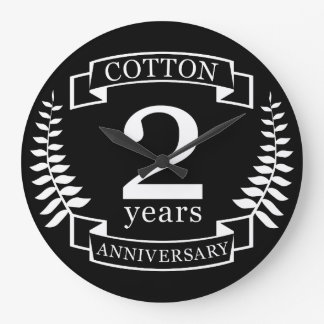 Cotton wedding anniversary 2 years married large clock