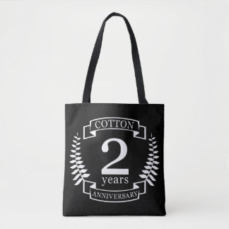 Cotton wedding anniversary 2 years married tote bag