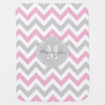 Cottoncandy Pink And Gray Chevron With Monogram Receiving Blanket at Zazzle