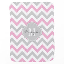 Cottoncandy Pink and Gray Chevron with Monogram Receiving Blanket