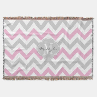 Cottoncandy Pink and Gray Chevron with Monogram Throw