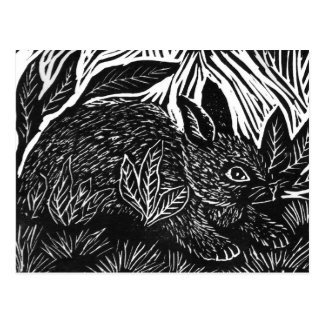 Cottontail Rabbit - block print Postcard
