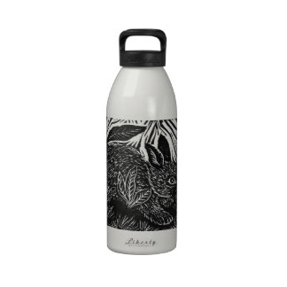 Cottontail Rabbit - block print Drinking Bottle