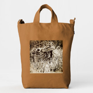 Cottontail Rabbit in Grass, Sepia, Grunge Duck Bag