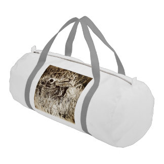 Cottontail Rabbit in Grass, Sepia, Grunge Duffle Bag
