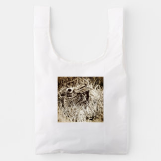 Cottontail Rabbit in Grass, Sepia, Grunge Reusable Bag