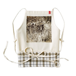 Cottontail Rabbit in Grass, Sepia, Grunge Zazzle HEART Apron