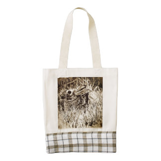 Cottontail Rabbit in Grass, Sepia, Grunge Zazzle HEART Tote Bag