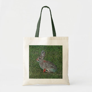 Cottontail Rabbit Sitting On Grass Budget Tote Bag