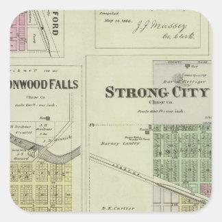 Cottonwood Falls, Strong City, Safford, Kansas Square Sticker