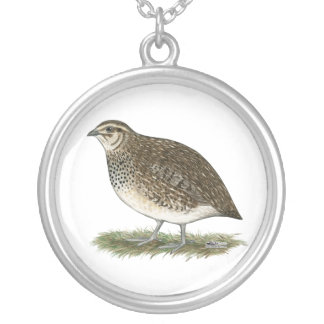 Coturnix Quail Hen Silver Plated Necklace